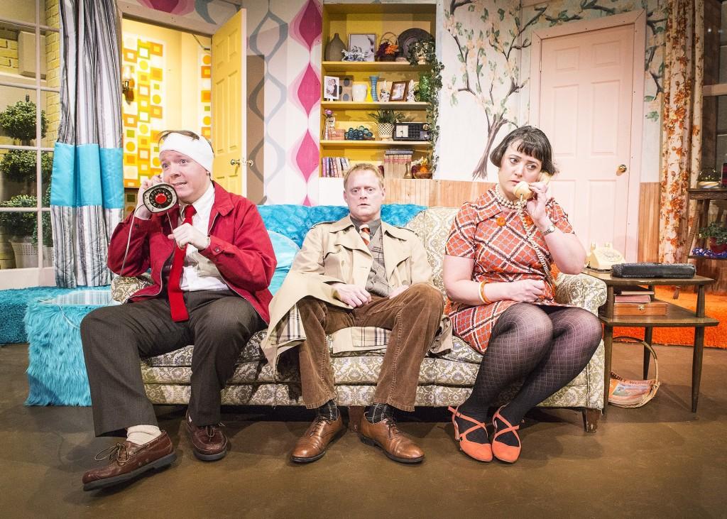 Joshua Nicholson, Michael Hardart* and Maria Silverman* perplexed in RUN FOR YOUR WIFE (photo by Bella Muccari)
