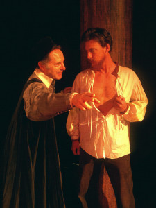 Dominic Cuskern as Shylock and David Patrick Ford as Antonio in The Merchant of Venice