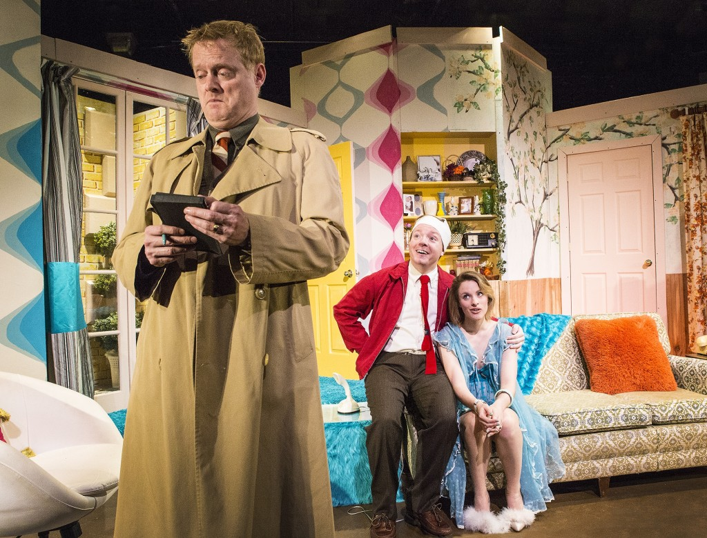 Michael Hardart*, Joshua Nicholson and Emily Hooper in RUN FOR YOUR WIFE (photo by Bella Muccari)